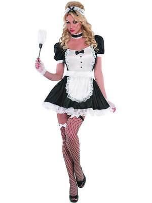 Ladies Sassy French Maid Rocky Horror Sexy Bedroom Magenta Fancy Dress Costume ()