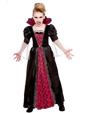 Girls Halloween Victorian Vampiress Dracula Vampire Fancy Dress Costume Outfit