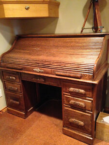 Solid Oak Roll Top Desk