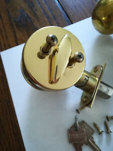 Weiser polished Brass Door Handle set for Exterior Door