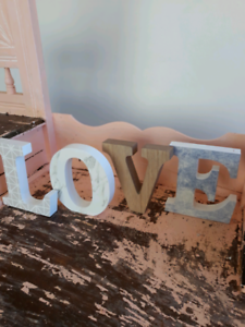 Decorative letters spelling LOVE