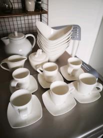 dunelm pausa tea set, bowls, sugar pot, milk pot, teapot, cusp saucers