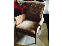 small pink and gold velvet feel arm chair