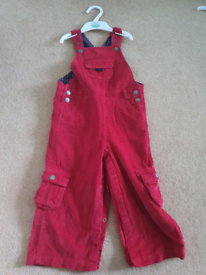 Jojo mama bebe size 2 to 3 years red cord dungarees