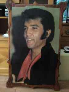 Large Elvis Presley photo mounted on wood