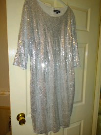 New silver sequins dress