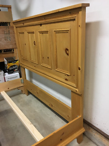 Pine Paneled Headboard & bed frame