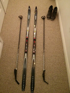 X Country skis poles and boots