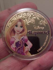Large 40mm 1oz Disney Rapunzel Gold Plated Colored, Frosted Coin
