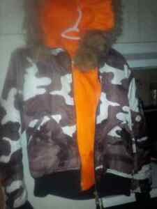 black grey & white unisex camo jacket with fur hood Cambridge Kitchener Area image 1