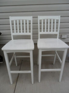 Pair of White Wooden Bar Stools