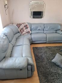 Corner double recliner sofa