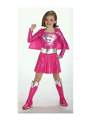 Child Licensed Pink Supergirl Party Outfit New Fancy Dress Costume Kids Girls BN