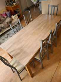 Habitat solid wood table and metal chairs