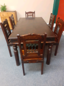 John Lewis Indonesian oak dining table and 6 chairs