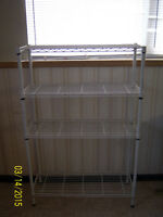 White, steel 4 shelf kitchen baker's rack.