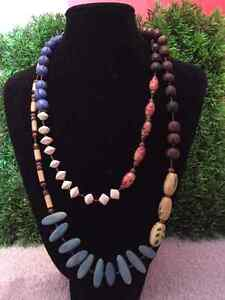 Ladies Multi coloured wooden bead necklace