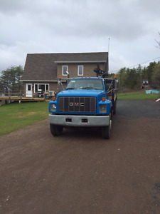 1995 GMC Flat bed with boom crane