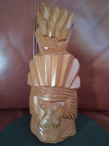 Vintage Hand Carved Wooden Native American Chief Head Sculpture Signed