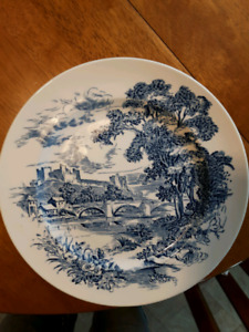 8 Vintage Wedgwood COUNTRYSIDE BLUE 10 inch dinner plates