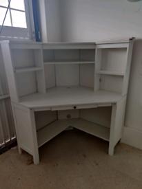White wooden work office study corner desk unit