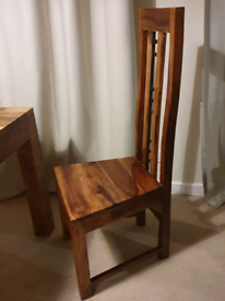 4 dining chairs - solid sheesham wood with metal detail