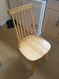 Wooden dining chairs, 4 available.