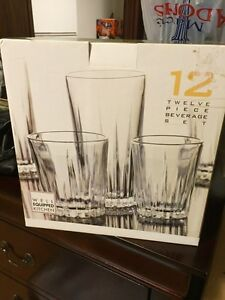 Set of crystal glasses 12 pieces (small, tall) BRAND NEW