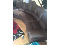 5 Seater Brown Faux Leather Reclining Sofa