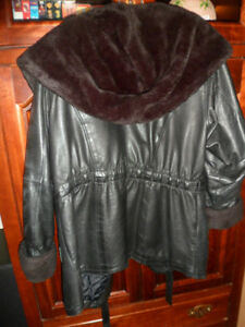 Price reduced Women's Leather Coat with Fur Collar and Cuffs