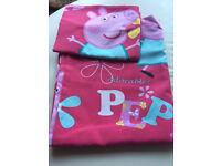 Peppa pig toddler/cot bed duvet set- as new