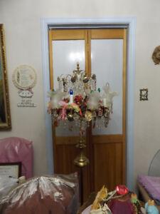 Vintage Custom Made Chandelier Pole Lamp