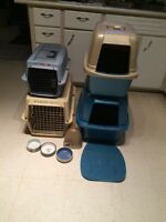 Kennels, litter boxes, dishes