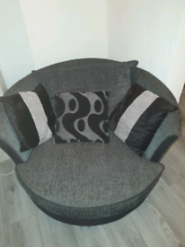 Dfs corner sofa and swivel chair