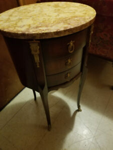 Pair of Antique end tables marble top