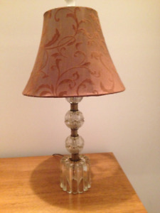 ANTIQUE Glass & Brass Lamp with Designer Lamp Shade