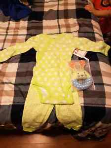6m onesie & pants set with toy rattle