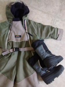 Size 2T warm one piece snowsuit and boots