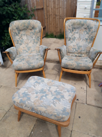 Ercol chairs & footstool