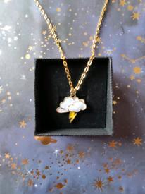 Greek Mythology Zeus Lightning Bolt Cloud Enamel Gold Charm Necklace
