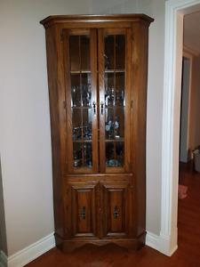 Solid oak corner display cabinet