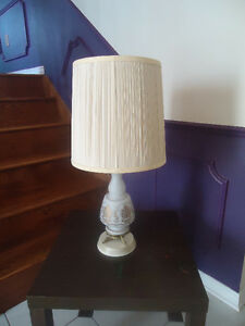 2 VINTAGE WHITE TABLE LAMPS - GLASS BASES - MADE IN FRANCE