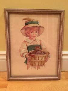 Embroidered Picture of a little girl & teddy bear