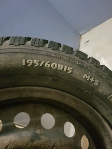 195 60 15  4/100 winter tire on rim