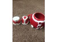 Christmas mug and Christmas salt and pepper pot,all new and boxed
