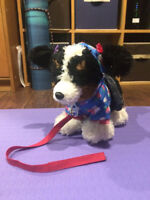 Build-a-Bear Brown Black and White puppy dog with blue hoodie an