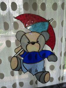 Custom stain glass teddy bear with umbrella Edmonton Edmonton Area image 1