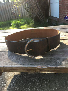BCBG faux leather THICK  BELT with Brass Buckle