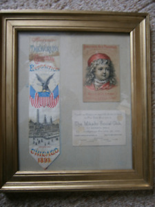 1893 Chicago Columbian Exposition ribbon and Horfords Ad Card et