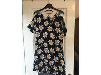 Floral flower print collar shift dress